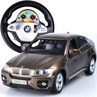 双鹰宝马X6儿童玩具方向盘枪式无线遥控手柄遥控车 可充电变速漂移遥控越野车赛车模型 香槟色方向盘