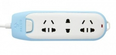 公牛Bull 炫彩电源插座接线板 插线板 拖线板插排 1.8米W1120 3插位排插蓝色1.8米